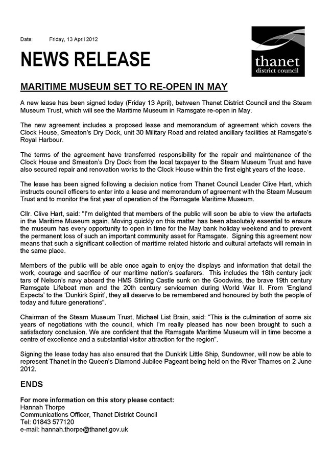 Thanet District Council Press Release regarding the Museum lease signing
